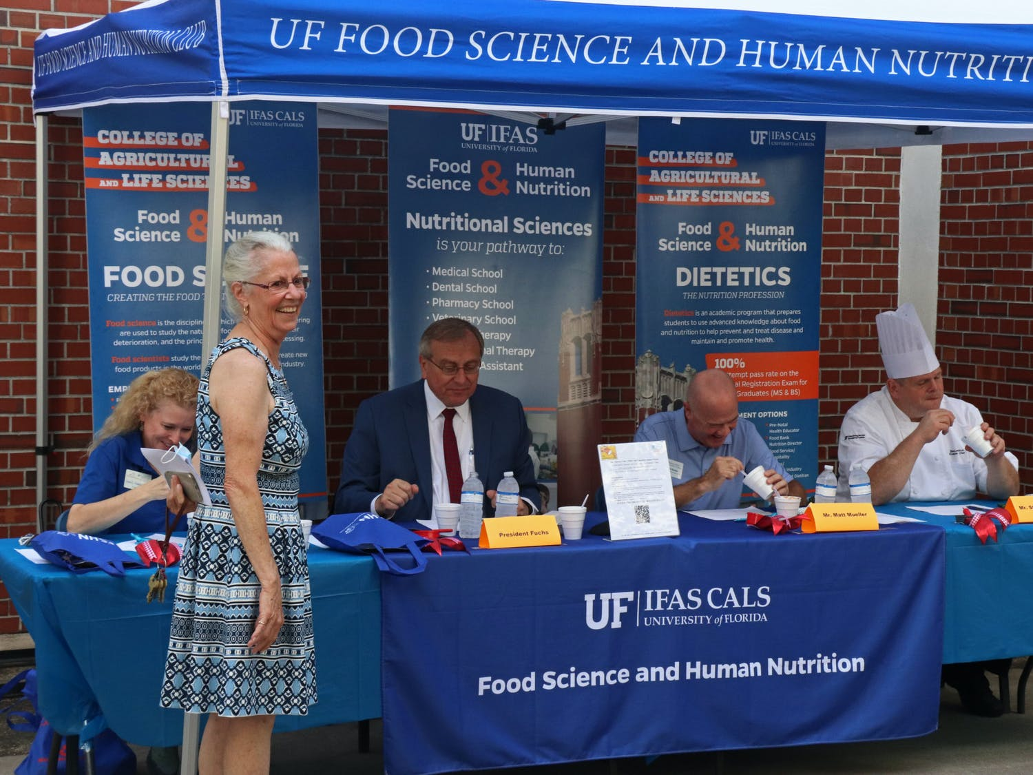 Susan Percival, Food Science and Human Nutrition Department chair, smiles while the judges taste chili during the Chili Cook Off on Friday, Oct. 15, 2021. The fundraising event was a part of Food Week 2021.