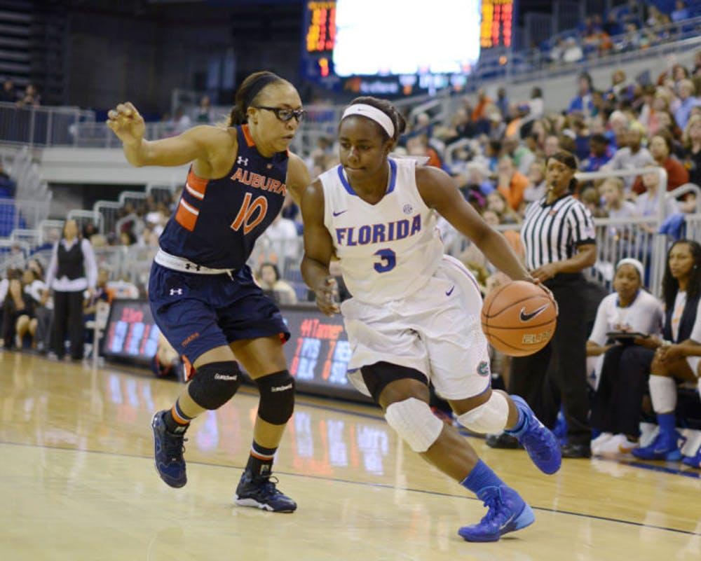 <p>January Miller drives toward the net during Florida's 87-69 win against Auburn on Jan. 26 in the O'Connell Center. Miller led Florida with 20 points against Kentucky in an 86-80 win on Sunday.</p>