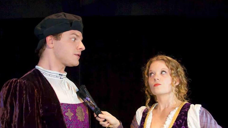 UF theatre graduate student Jacob Lesh, 24, poses as Antipholus of Syracuse, and UF acting graduate student Christie Robinson, 31, as Adriana.