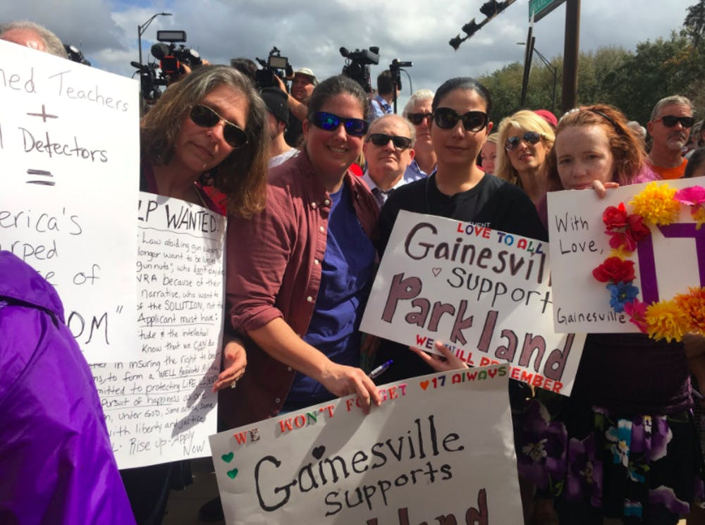 <p>Gainesville moms support Stoneman Douglas students in Tallahassee on Wednesday.</p>