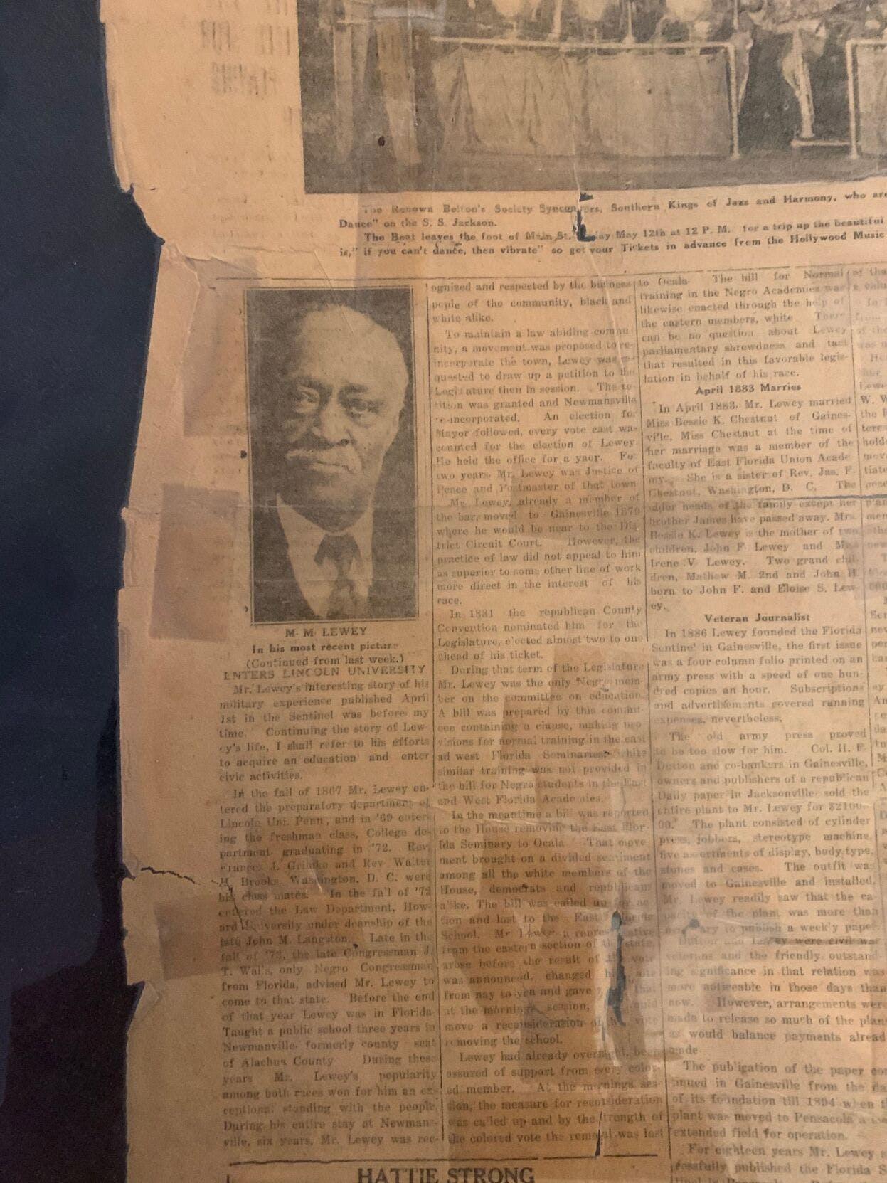 M. M. Lewey newspaper