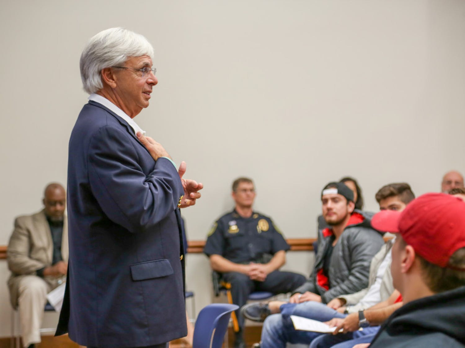 Santa Fe College President Jackson Sasser speaks to more than 50 international students on Wednesday afternoon.