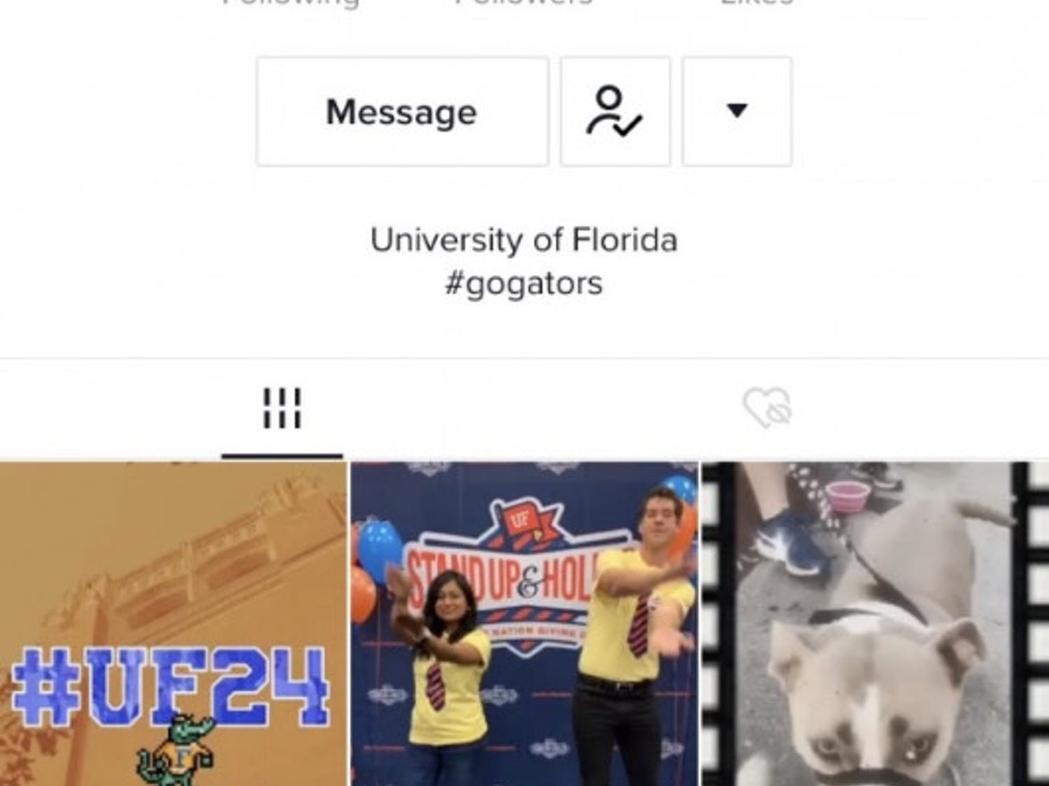 The official UF account combines Gator content with popular TikTok trends.