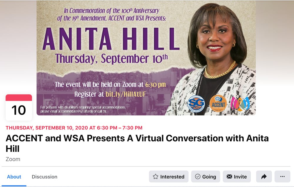 "<p>Anita Hill spoke to UF in a 45-minute virtual interview Thursday. The event was be moderated by <span id=""docs-internal-guid-9d15aeda-7fff-7f96-5517-4766008f96e5""><span>Debra Walker King, a UF English professor, and was hosted by <span id=""docs-internal-guid-fdb75269-7fff-095d-fc28-29df584fa183""><span>Accent Speakers Bureau and the Women's Student Association.</span></span></span></span></p>"