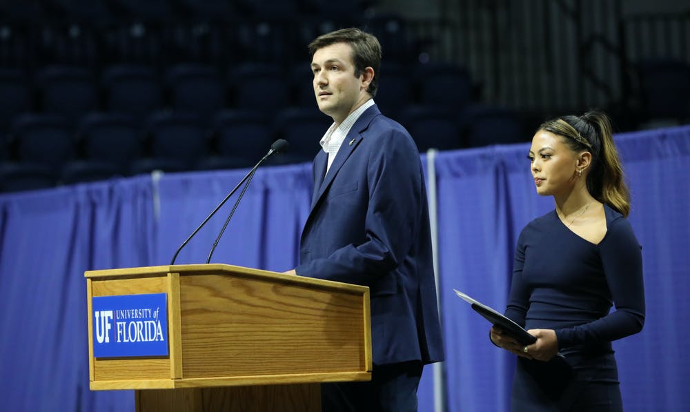 <p>UF Student Government President Cooper Brown (left) and Vice President Faith Maniti (right) announce that student government is holding the Accent Speakers Bureau in-person after two years of pauses on Wednesday, June 30, 2021. They also encouraged students to participate in more school activities as the COVID-19 pandemic becomes less of a concern. </p>