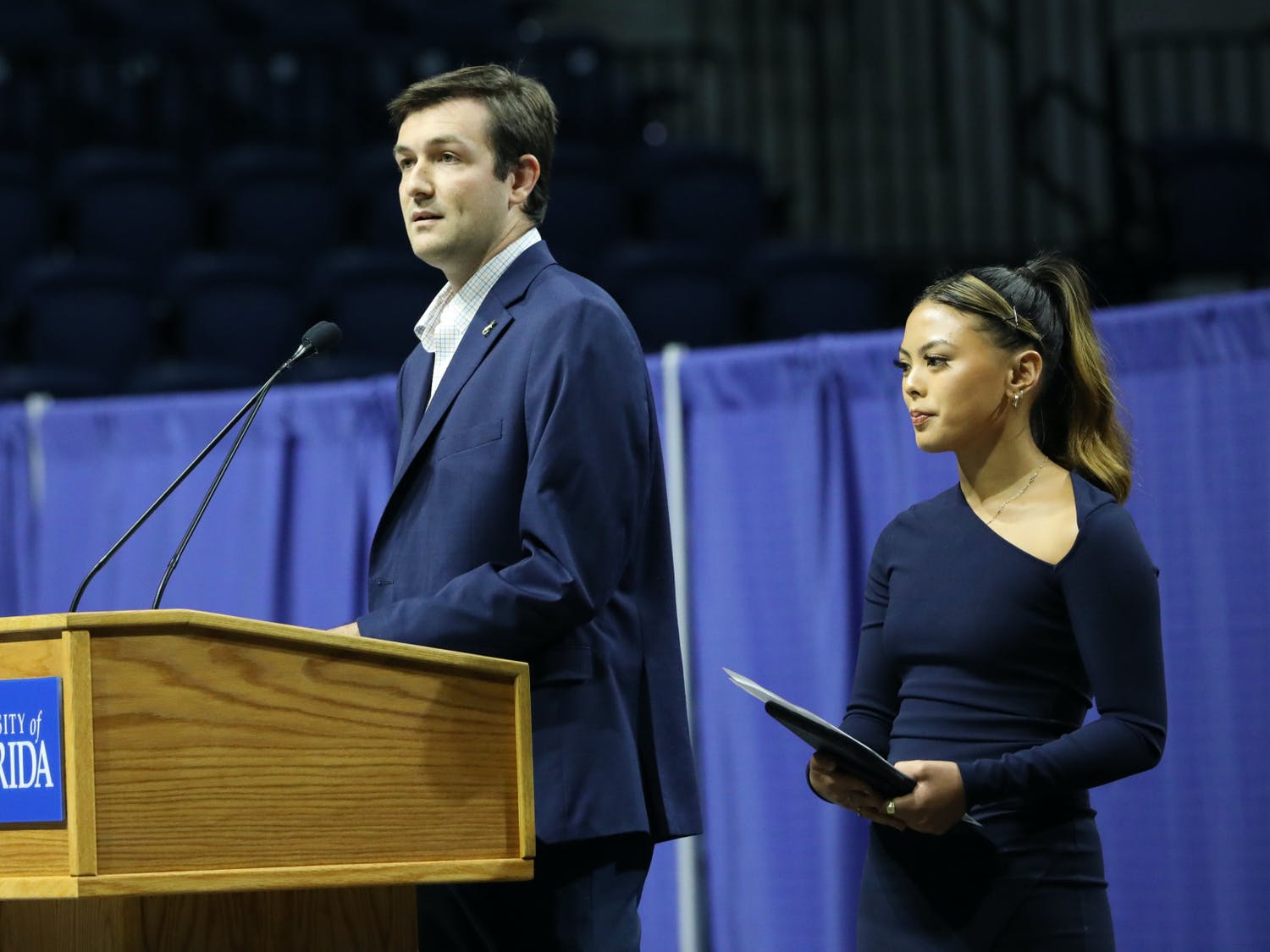 UF Student Government President Cooper Brown (left) and Vice President Faith Maniti (right) announce that student government is holding the Accent Speakers Bureau in-person after two years of pauses on Wednesday, June 30, 2021. They also encouraged students to participate in more school activities as the COVID-19 pandemic becomes less of a concern.