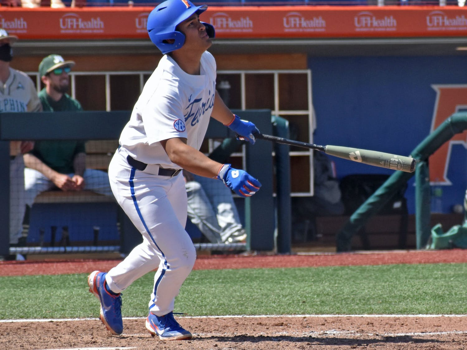 Florida outfielder Kendrick Calilao watches a ball he hit against Jacksonville on March 14. Calilao tied Friday's game in the eighth inning before he struck the winning home run in the ninth.