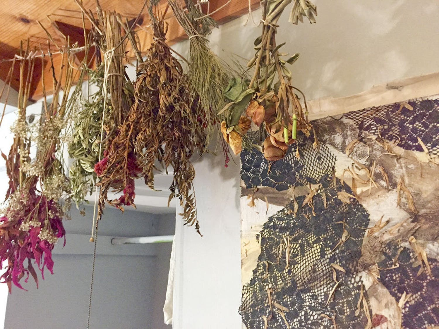 Pictured are the dried flowers Horner has collected from customers and hung to preserve them for use in art.