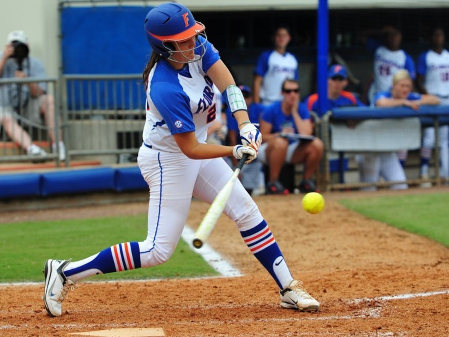 Kelsey Horton connects with a pitch in Florida's 5-2 win against Auburn on April 15, 2012. Horton hit a home run in Florida's 10-4 win against Missouri in the SEC Tournament final on Saturday.