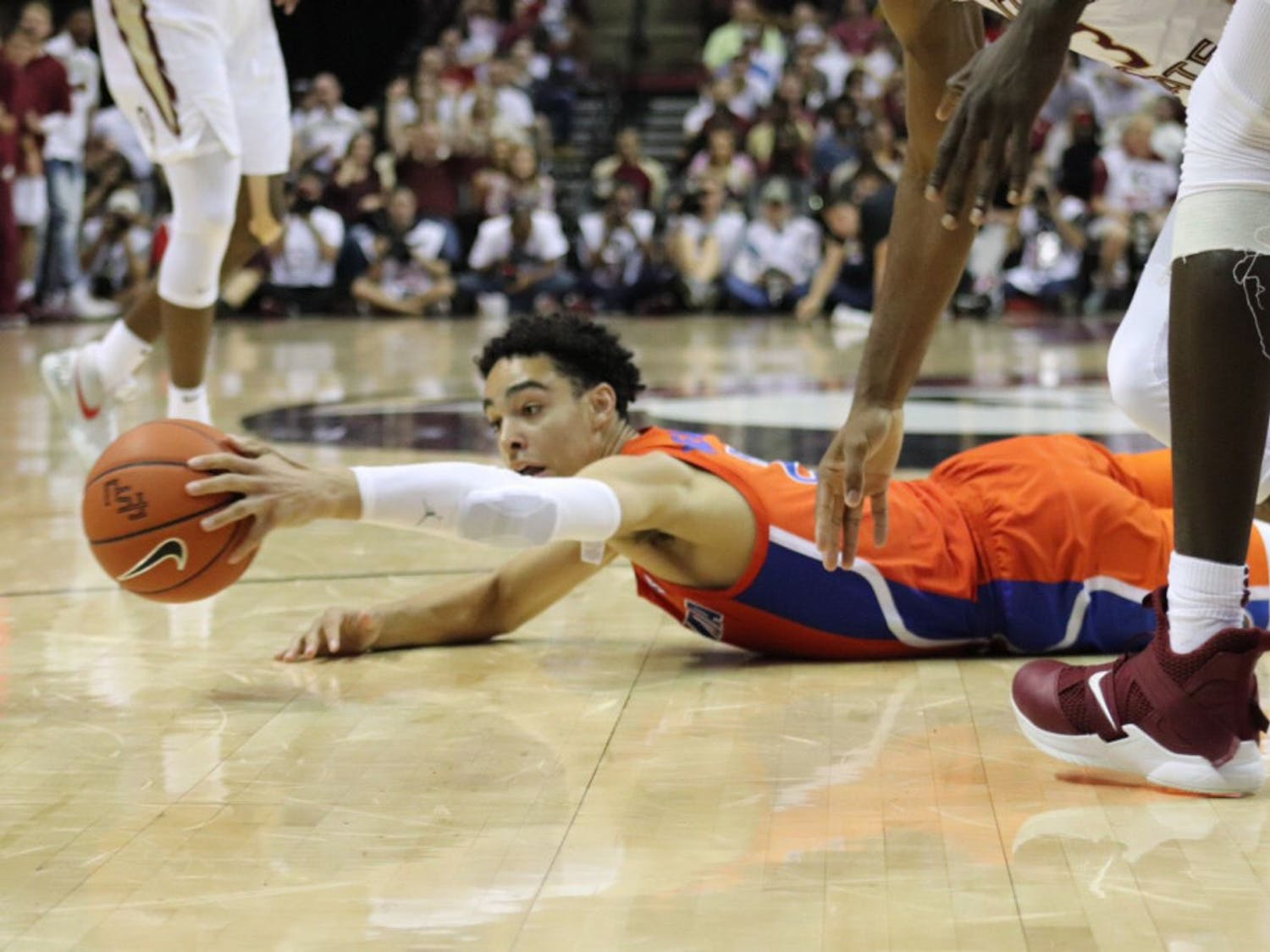 Guard Andrew Nembhard went 4-for-8 from the field with 12 points and four assists in 34 minutes against FSU.