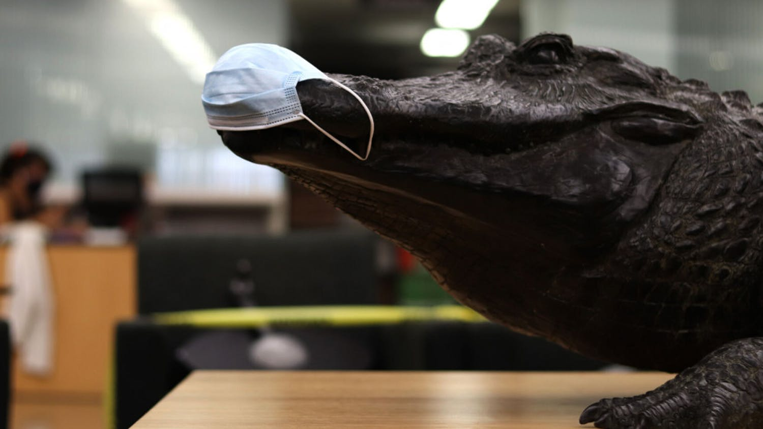 "A mask is seen on the ""Focused Attention"" gator statue in Library West on Friday, Sept. 11, 2020. (Lauren Witte/Alligator Staff)"