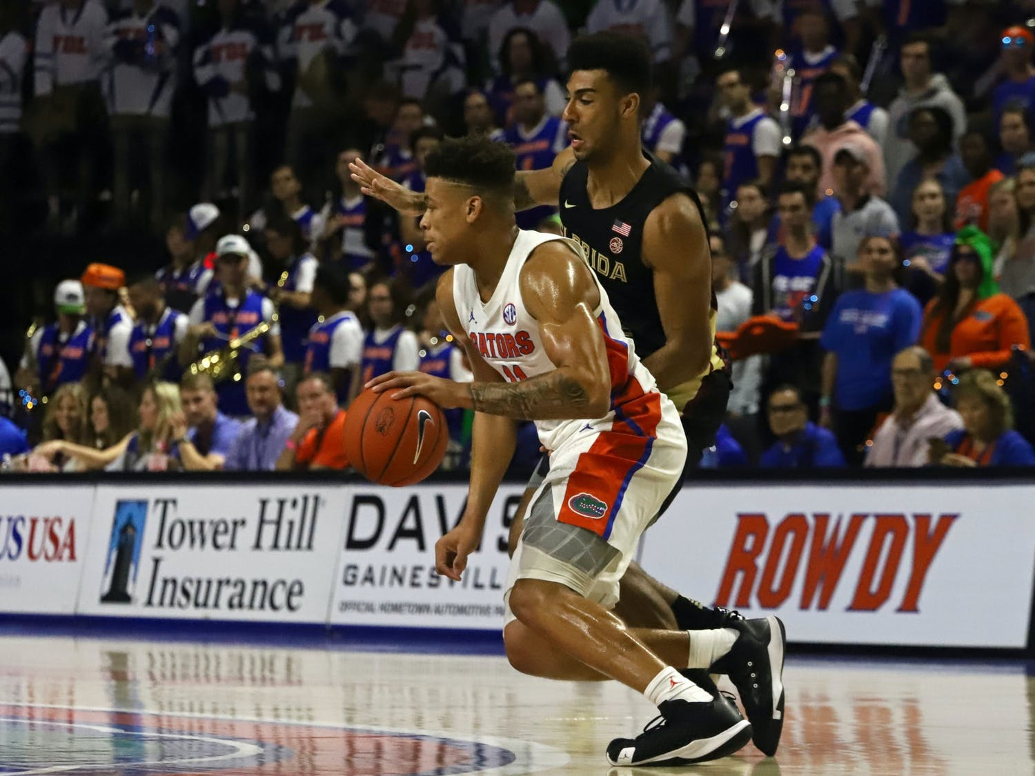 Gators forward Keyontae Johnson at Florida's game against FSU in 2019. Johnson is currently at Tallahassee Memorial Hospital. Coach Mike White is staying behind with his player, while the rest of the team heads back to Gainesville.