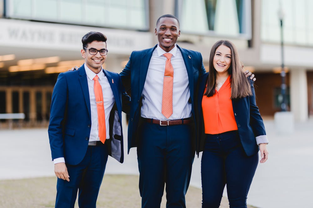 """<p>From left: <span id=""""docs-internal-guid-e99f6f26-312f-d5d0-7897-a2b0c5417372"""">Bijal Desai running for Student Body vice president, <span id=""""docs-internal-guid-e99f6f26-312f-d5d0-7897-a2b0c5417372"""">Revel Lubin running for Student Body president</span> and Alyssa Bethencourt running for Student Body treasurer</span></p>"""