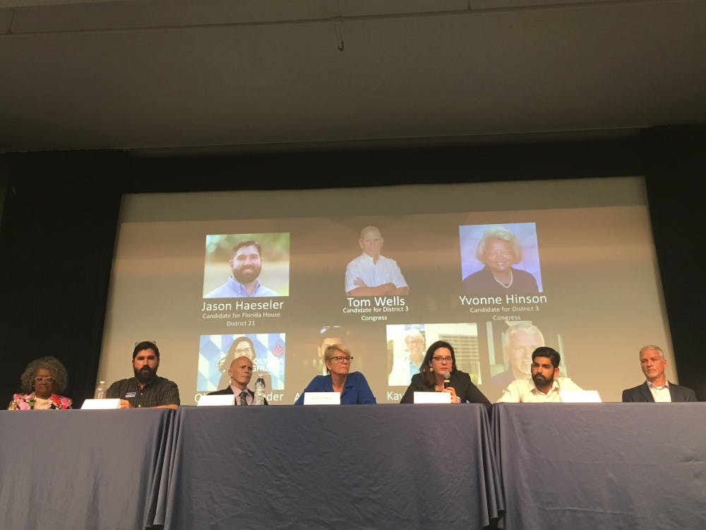 """<p dir=""""ltr""""><span>Politicians, including candidates for U.S. Rep. District 3, Florida Rep. District 21 and Florida Senate District 8, sat in at a town hall on gun law reform in the Reitz Union on Saturday. The event was organized by student group UF Stands with MSD, which is changing its name to Never Again UF.</span></p><p><span></span></p>"""