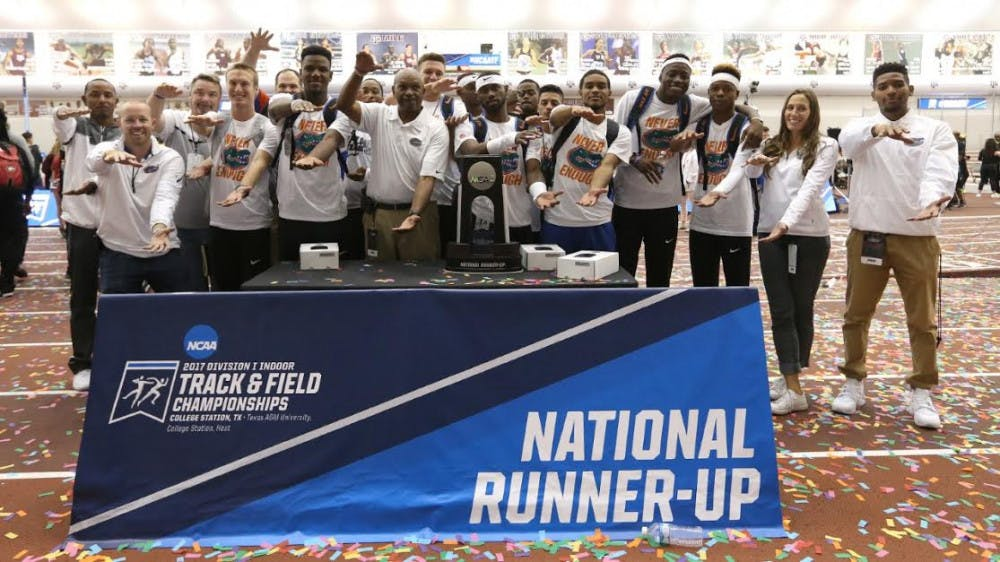 <p>The UF men's track team poses for a photo after finishing in second place in the NCAA Indoor Championships Saturday at Gilliam Indoor Stadium in College Station, Texas.</p>