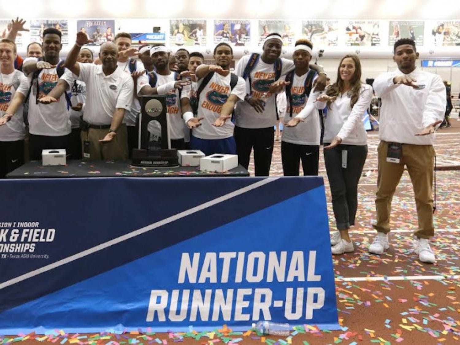 The UF men's track team poses for a photo after finishing in second place in the NCAA Indoor Championships Saturday at Gilliam Indoor Stadium in College Station, Texas.