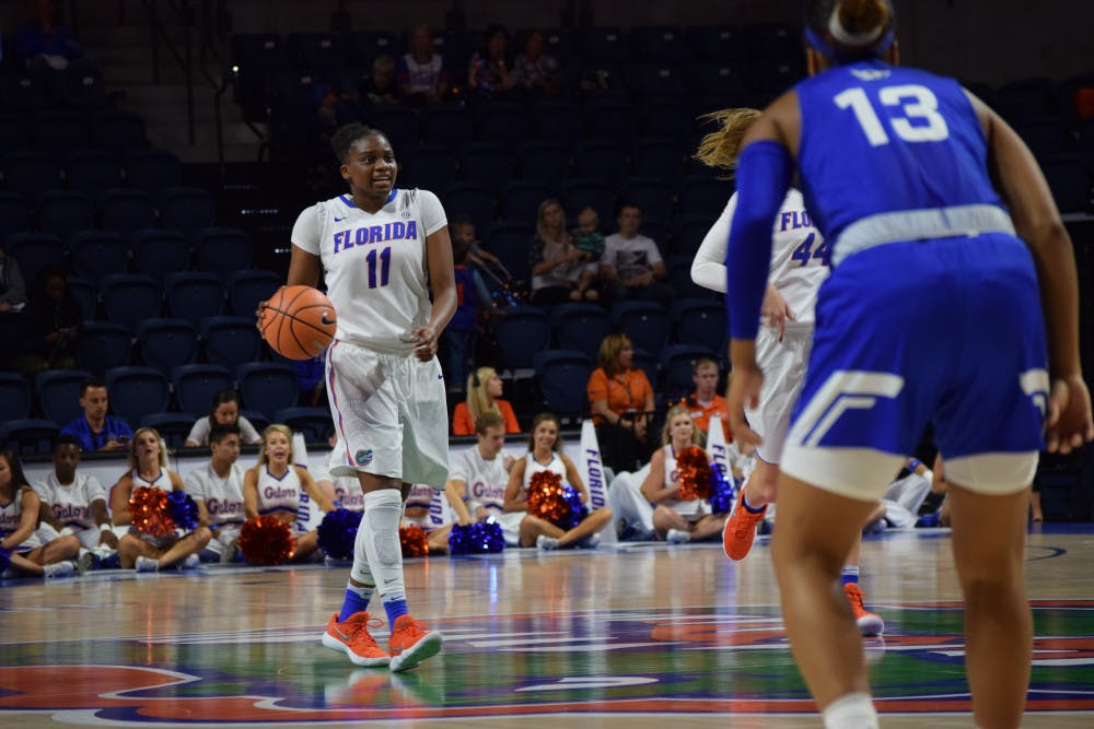 """<p dir=""""ltr"""">Senior guard Dyandria Anderson led all scorers with a career-high 29 points on 8-of-11 shooting while going 6-of-7 from behind the arc in Florida's 80-61 win over Oklahoma on Sunday at the Lloyd Noble Center in Norman, Oklahoma.</p>"""
