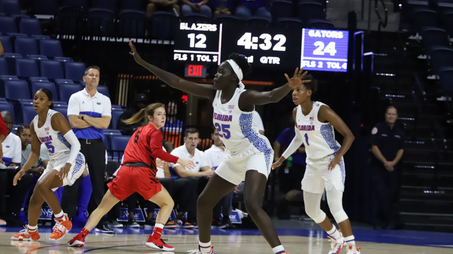 Florida forward Faith Dut (25) and the Gators take on FSU Tuesday at 6:00 p.m. in Tallahassee, Florida.