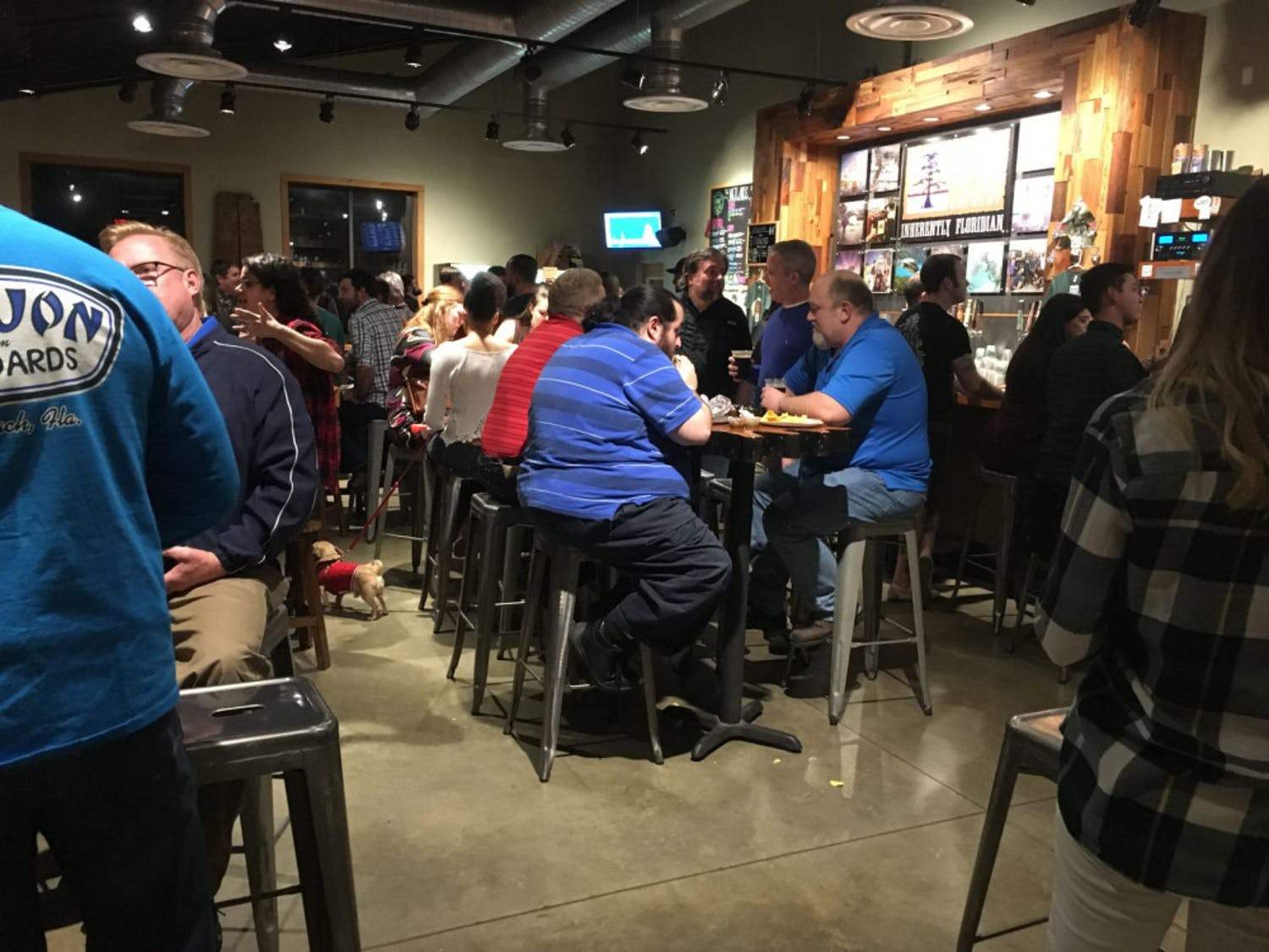 Inside Swamp Head Brewery, people enjoyed local beer with their burrito. There were also T-shirts and raffle tickets for sale.