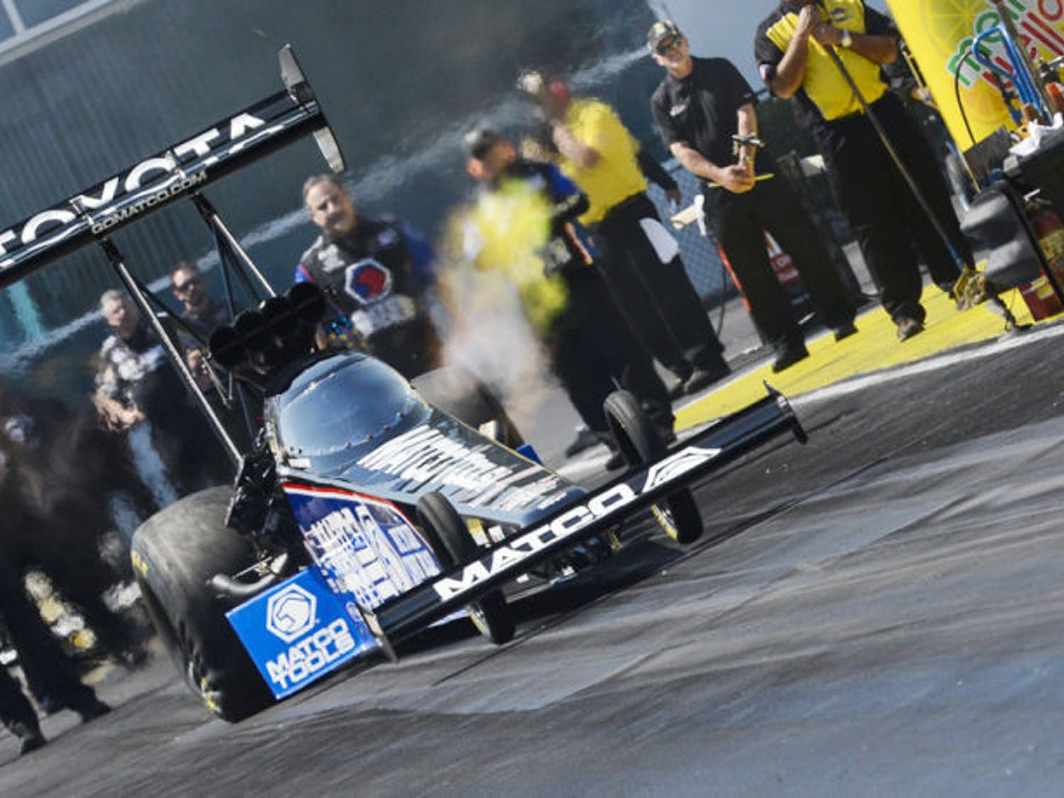 A top-fuel dragster races during Gatornationals on March 15 at Auto-Plus Raceway at Gainesville. The track hosts the annual national drag racing event each spring as well as weekly Test & Tune events.