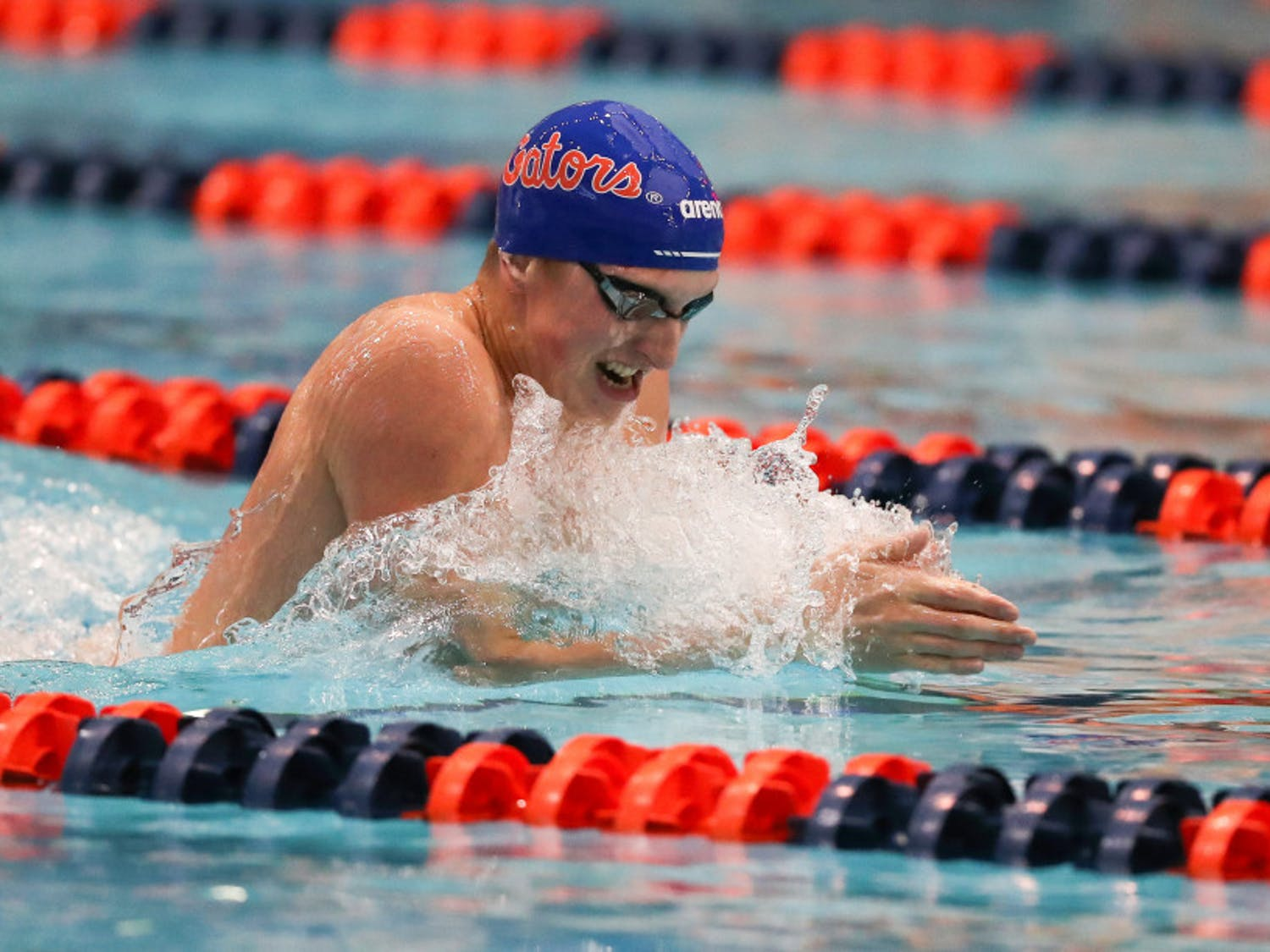 Gators swimmer Kieran Smith comes up to breathe while swimming breaststroke. Smith medaled in three events at the 2020 U.S. Open this weekend.