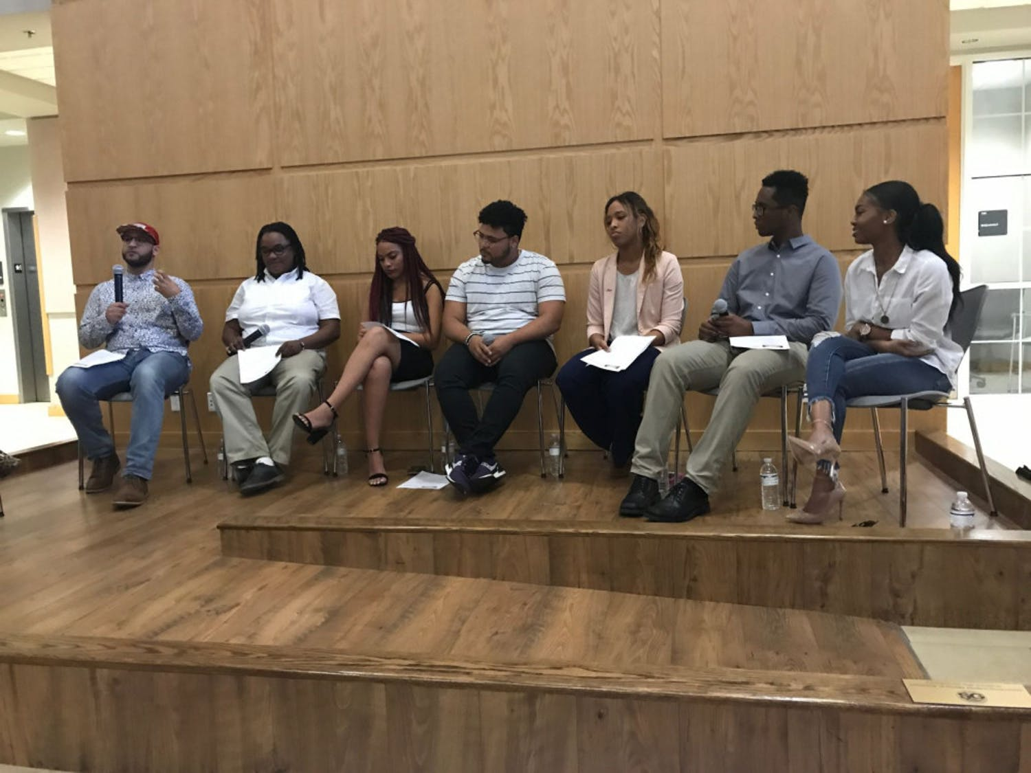 """Five UF students who spoke about being Latino with African descent at UF's first Afro-Latinx panel titled """"I Am Enough: Afro-Latinx Panel."""" The event was held Tuesday night in Pugh Hall Ocora."""