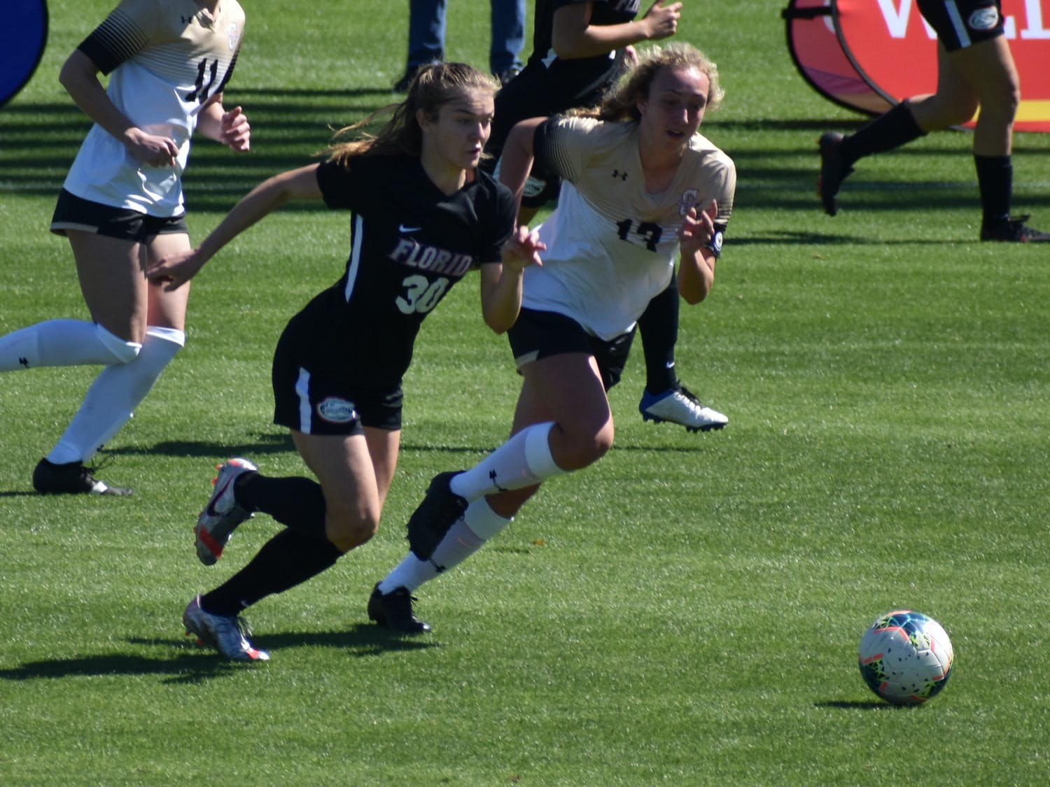 Florida striker Beata Olsson dribbles past a defender Feb. 20 against College of Charleston. The Swedish international scored an early equalizer Monday.