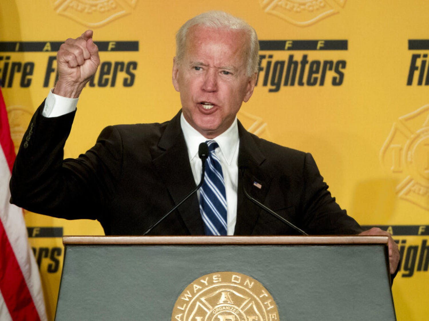 """FILE - In this March 12, 2019, file photo, former Vice President Joe Biden speaks to the International Association of Firefighters at the Hyatt Regency on Capitol Hill in Washington. Biden says he does not recall kissing a Nevada political candidate on the back of her head in 2014. The allegation was made in a New York Magazine article written by Lucy Flores, a former Nevada state representative and the 2014 Democratic nominee for Nevada lieutenant governor. Flores says Biden's behavior """"made me feel uneasy, gross, and confused.""""(AP Photo/Andrew Harnik, File)"""
