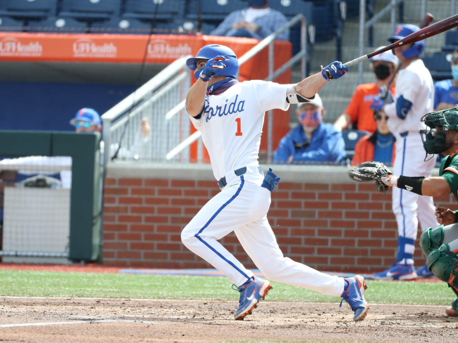 Young's hit-streak extended to 30 games over 646 days as he broke Tim Olson's longest hit-streak record in Gators baseball history. Photo from UF-UM game Feb. 21. Courtesy of the SEC Media Portal.