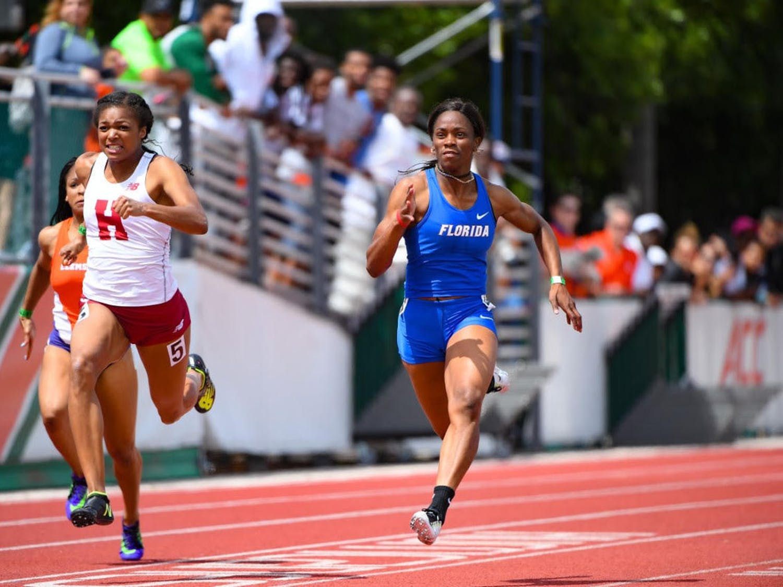 UF sprinter Shayla Sanders runs the 100 meters at the Hurricane Collegiate Invitational on Saturday, March 25, 2017.