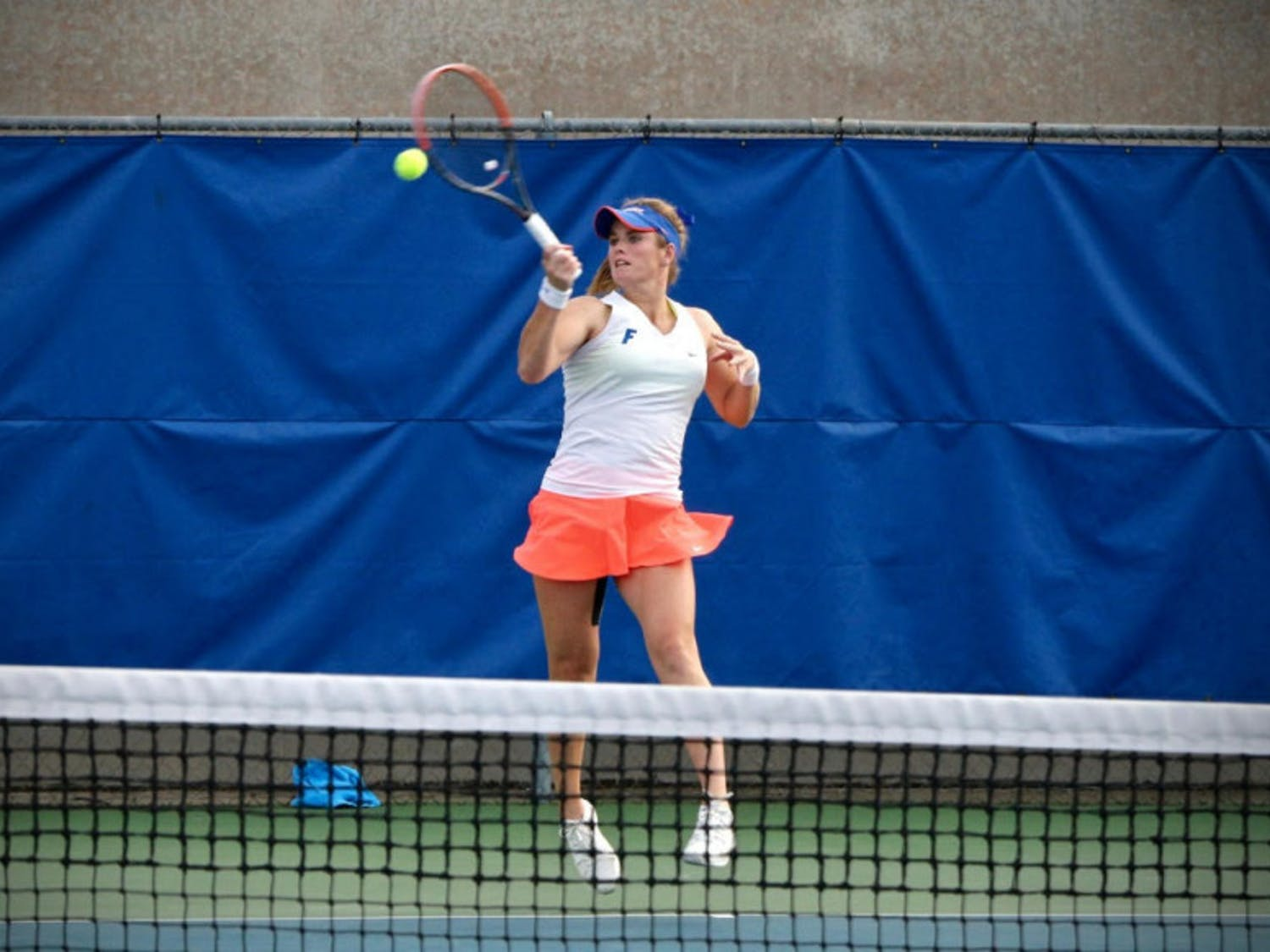 Belinda Woolcock hits a forehand during Florida's 4-2 win against Oklahoma State on Feb. 18, 2017, at the Ring Tennis Complex.