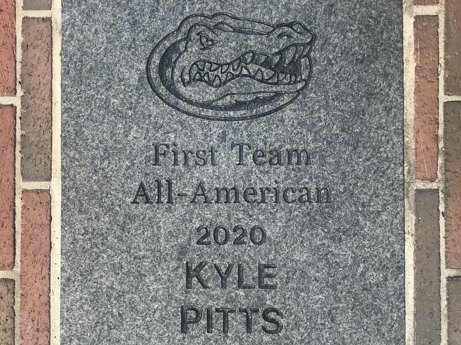 Kyle Pitts' brick outside Ben Hill Griffin Stadium.