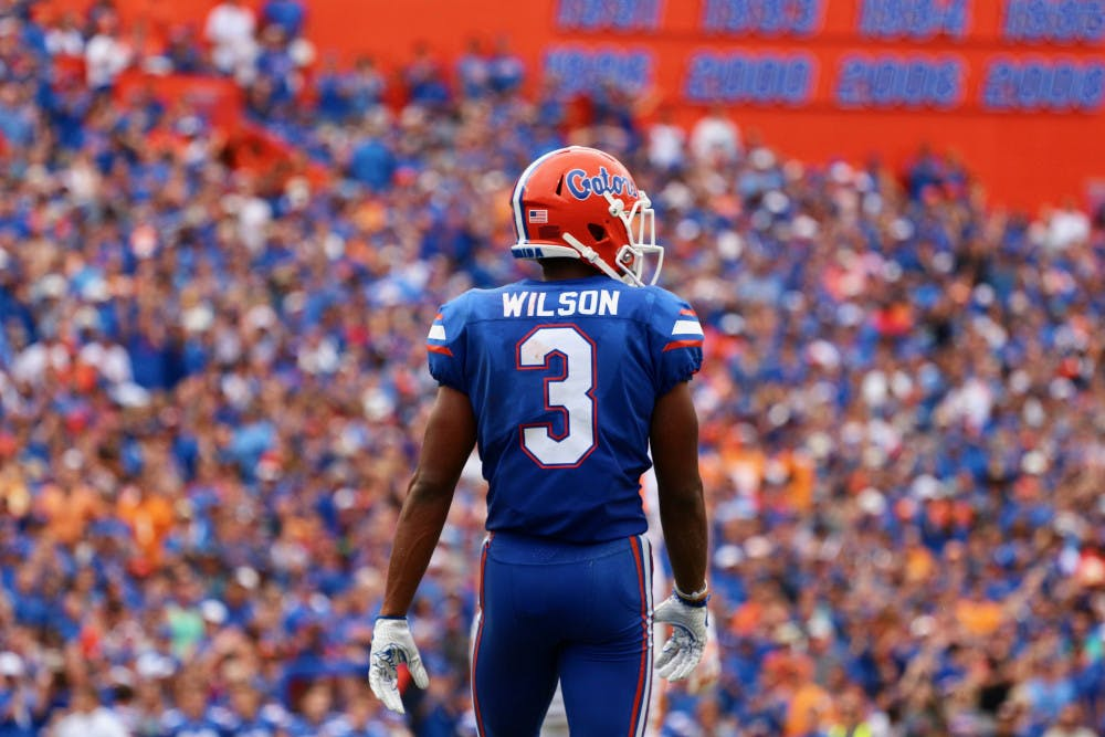 <p>UF cornerback Marco Wilson stands on the field at Ben Hill Griffin Stadium in 2017.</p>