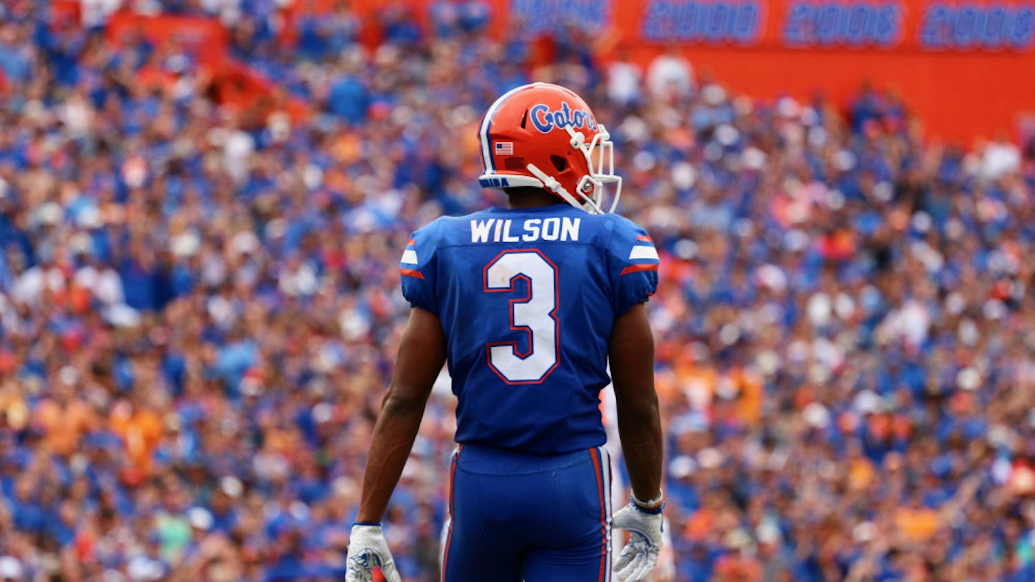UF cornerback Marco Wilson stands on the field at Ben Hill Griffin Stadium in 2017.