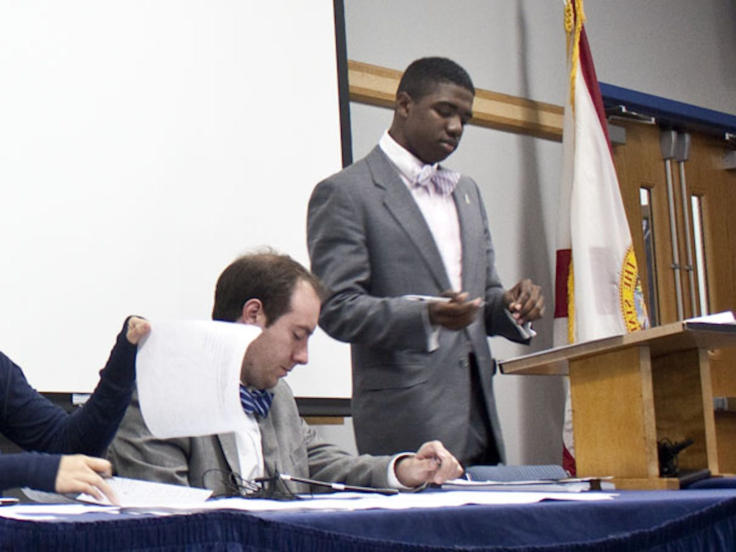 Senate President Aundre Price expressed his happiness about senators getting involved and being proactive during the last Student Senate meeting of the semester on Tuesday night.
