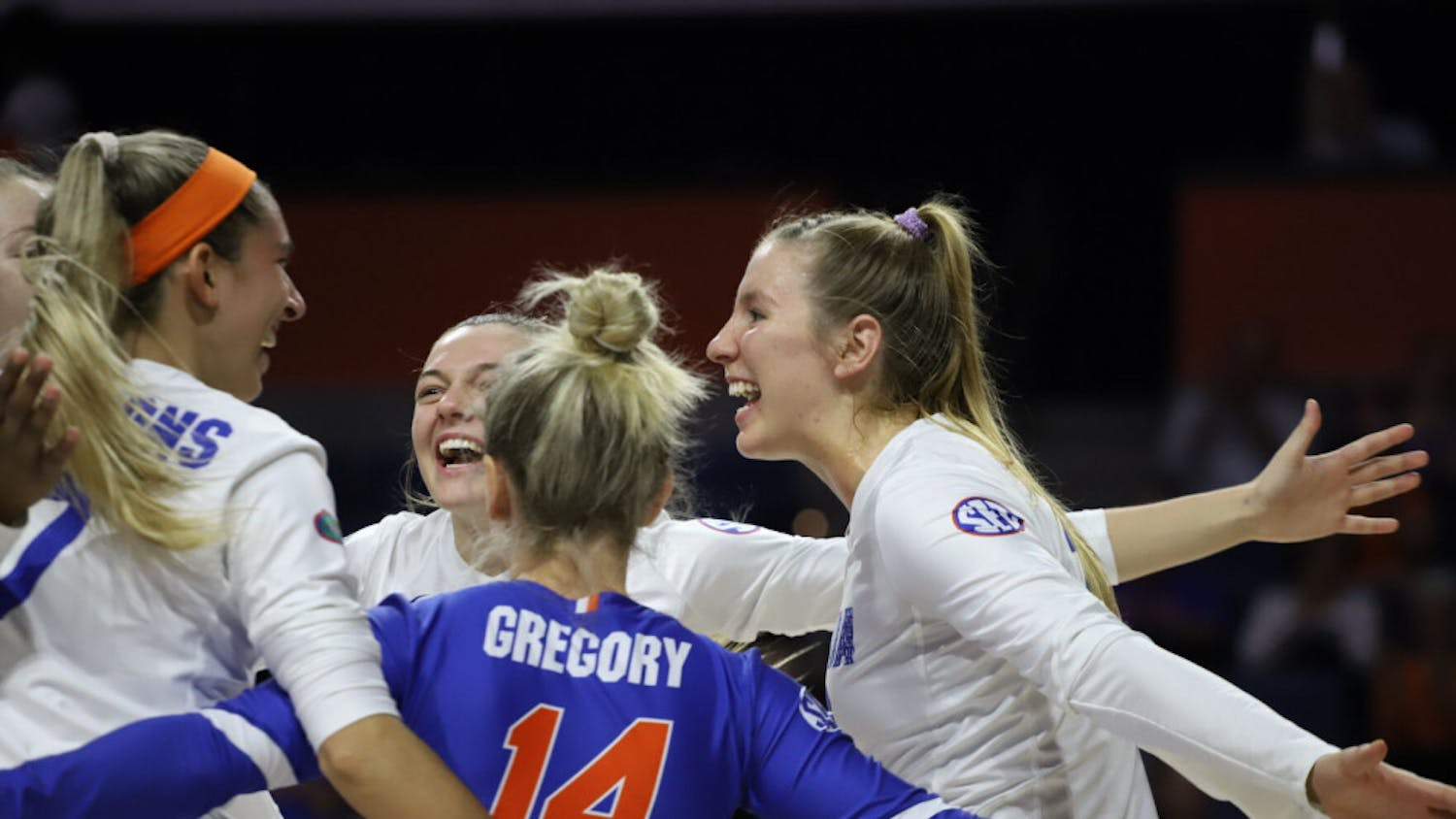 The Gators celebrate a successful play at home against Texas A&M in 2019.