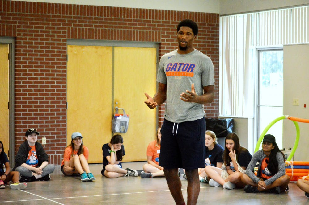 "<p dir=""ltr""><span>Kavarrius Hayes, a senior on the UF men's basketball team, shares his experiences of getting outside of his comfort zone with campers from the Fear Facers Summer Camp.</span></p><p><span> </span></p>"