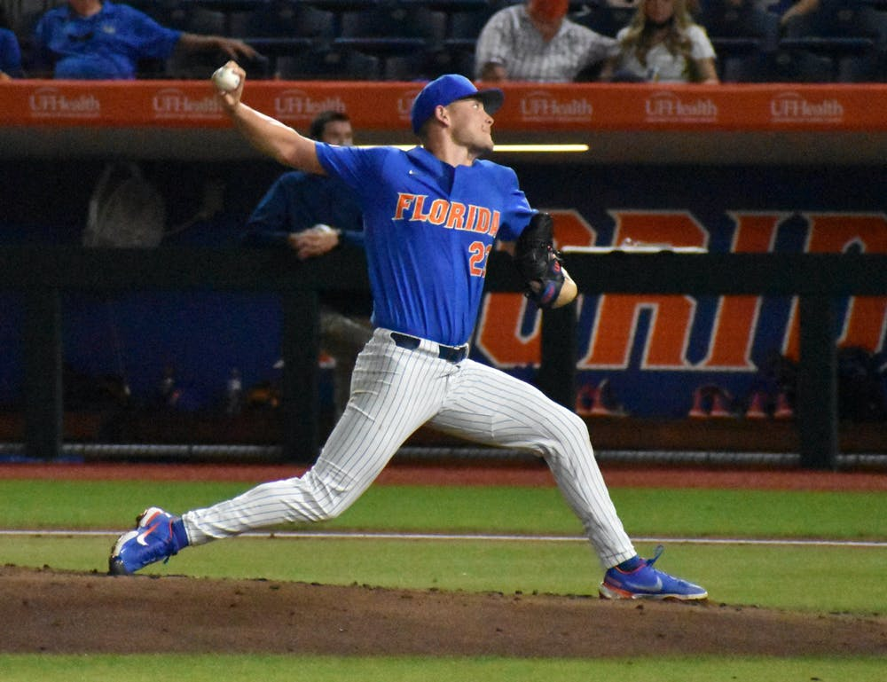 <p>Pitcher Jack Leftwich strides home against Jacksonville March 13. The junior hurler allowed four hits and three earned runs in 4.2 difficult innings Saturday night. </p>
