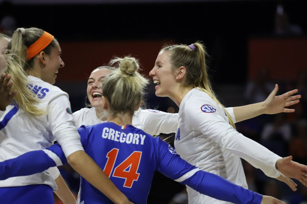 <p>The Gators celebrate a successful play at home against Texas A&amp;M last year. This season, Florida extended its winning streak to eight games after defeating Arkansas Friday.</p>
