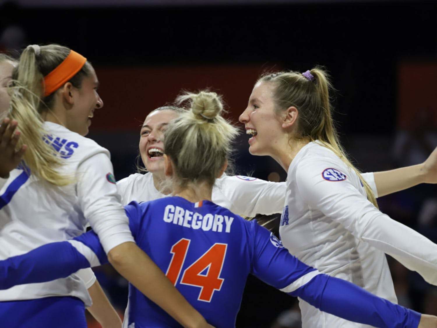 The Gators celebrate a successful play at home against Texas A&M last year. This season, Florida extended its winning streak to eight games after defeating Arkansas Friday.