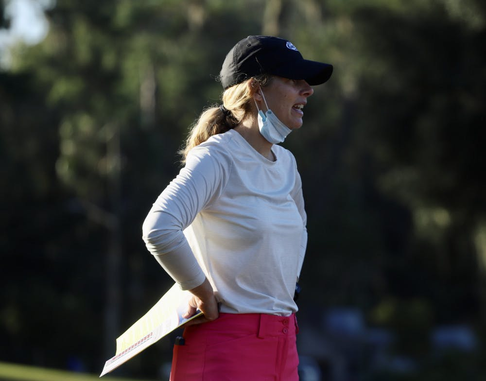 <p>Coach Emily Bastel Glasser at Mark Bostick Golf Course. Glasser was pleased with the young talent on the Gators golf team after their showing at The Ally at Old Waverly.</p>