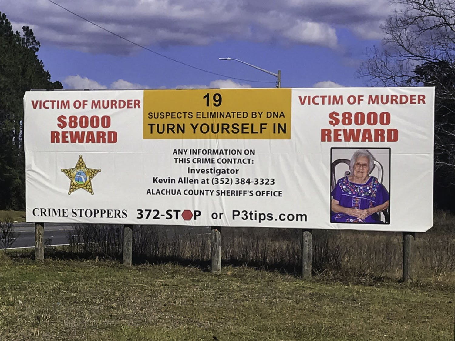 The new billboard, located near the Park-and-Ride Lot on West Newberry Road, was unveiled Thursday.