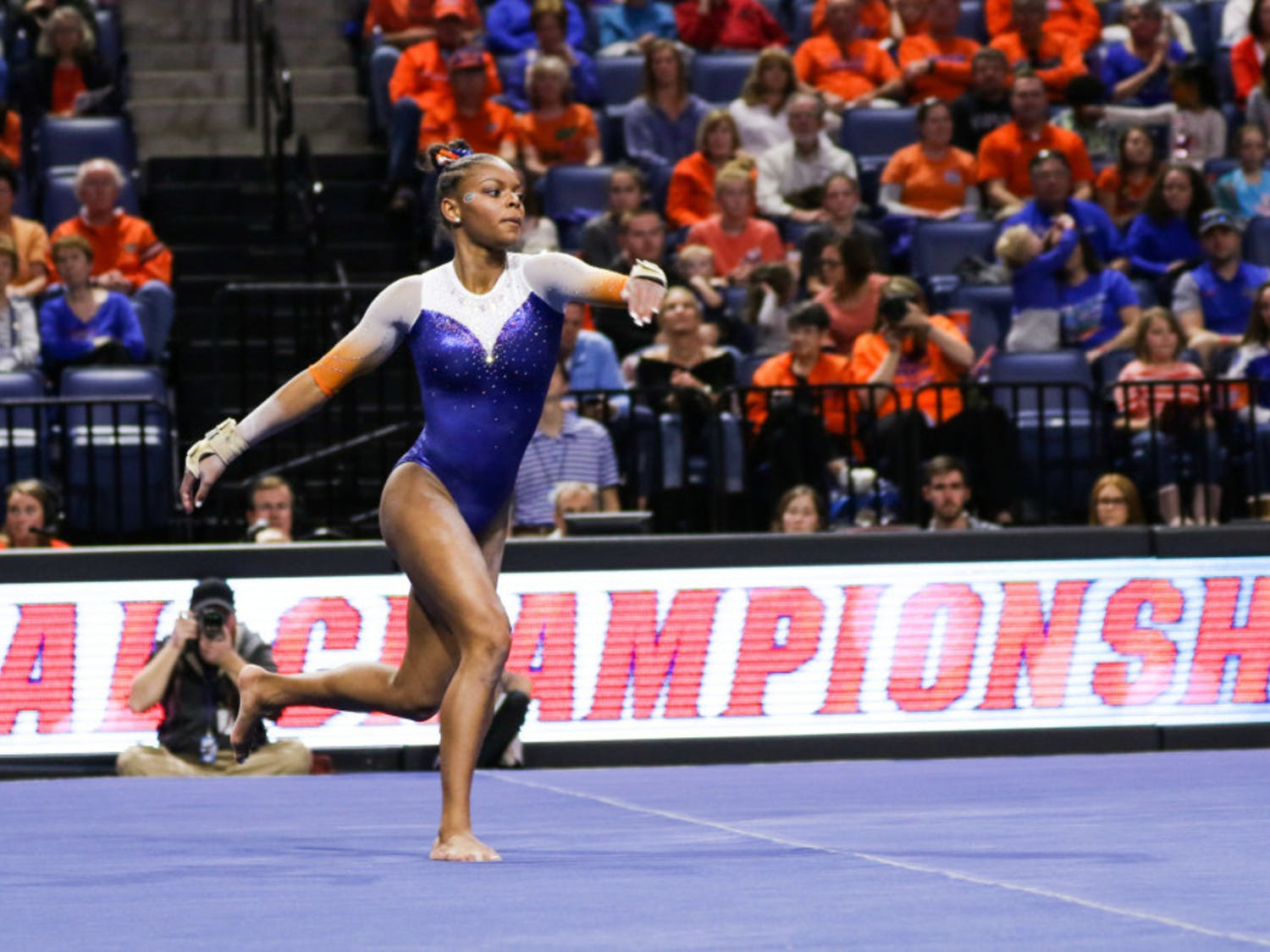 UF freshman Trinity Thomas won the vault title at the SEC Championships on Saturday in New Orleans.