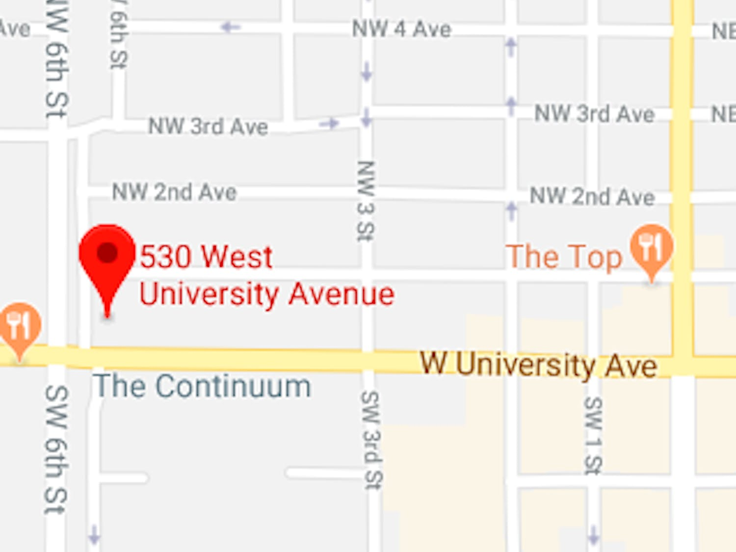 Map of the location for Santa Fe College's Center for Innovation and Economic Development