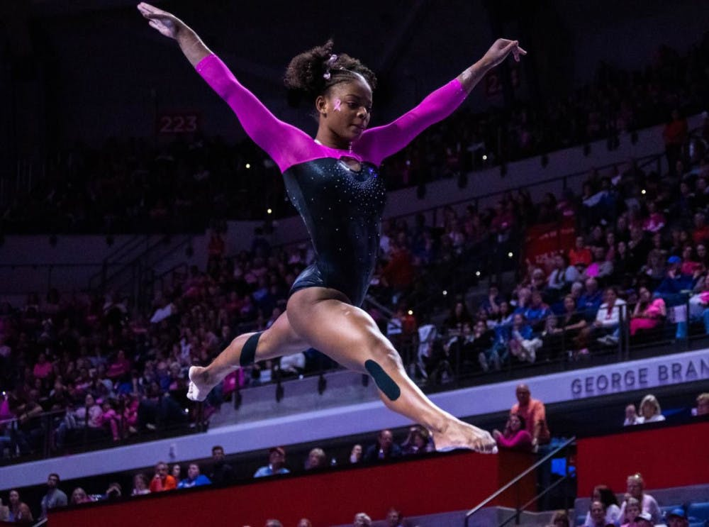 <p><strong>The team is led by junior standout Trinity Thomas, pictured above. She  was a finalist for the Honda Award, which is given to the best collegiate gymnast in the country.</strong></p>