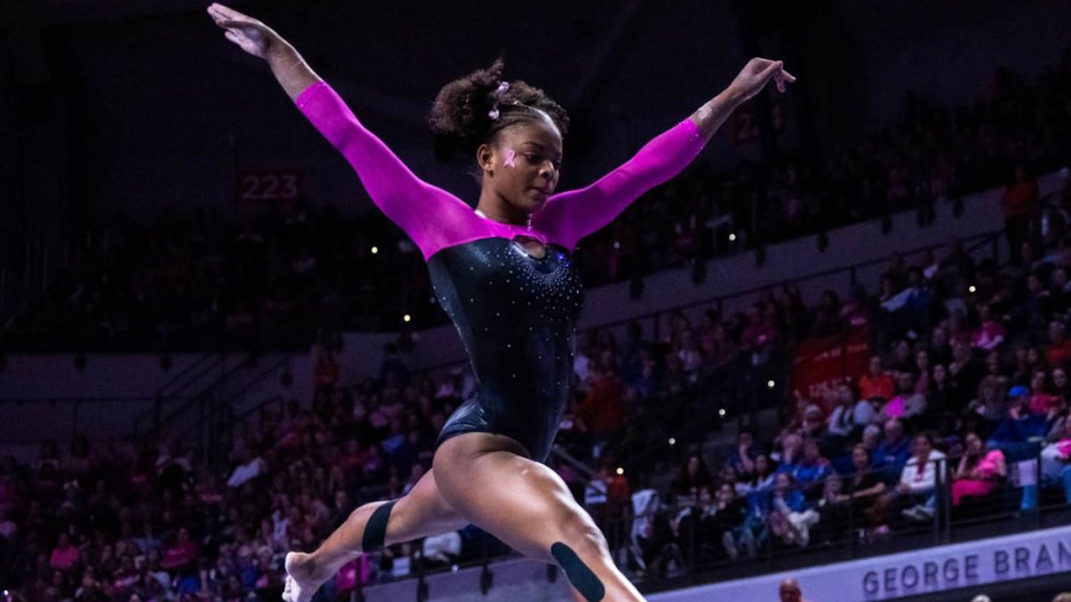 The team is led by junior standout Trinity Thomas, pictured above. She  was a finalist for the Honda Award, which is given to the best collegiate gymnast in the country.