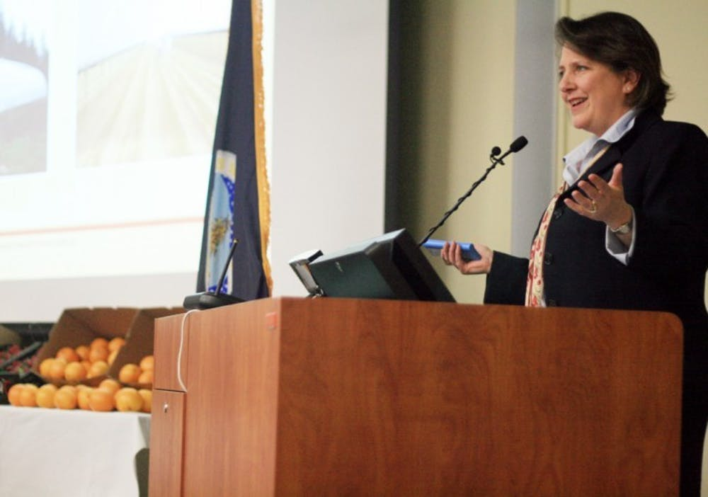 <p>U.S. Department of Agriculture Deputy Secretary Kathleen Merrigan speaks about agriculture and its importance in the U.S. at the Straughn Extension Professional Development Center on Thursday night.</p>