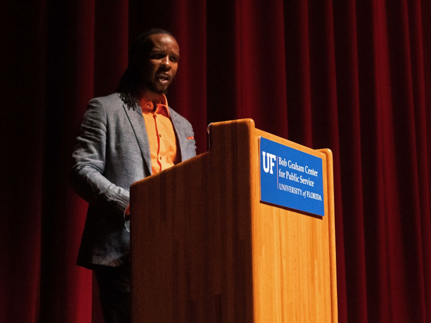 "Ibram X. Kendi, author and former assistant professor of African American History at the University of Florida, speaks about his latest book, ""How to Be an Antiracist""at the Phillips Center for the Performing Arts Thursday evening."