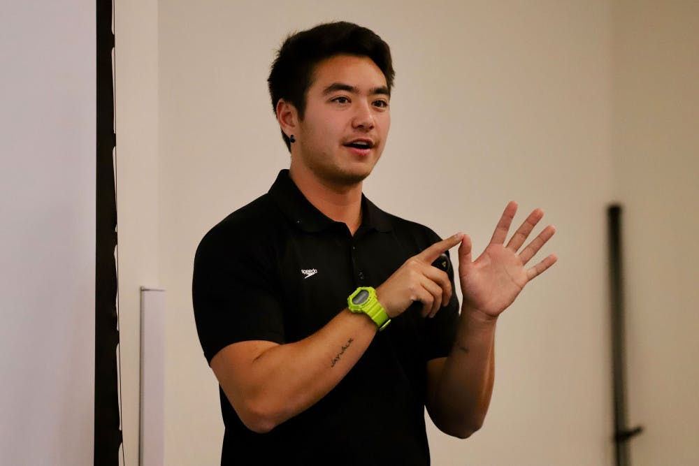 "<p dir=""ltr"">Schuyler Bailar, 23, the first Division 1 NCAA trans-athlete speaks about his life Friday to students. His speech marked the culmination of events put on by Pride Student Union celebrating National Coming Out Day.</p>"