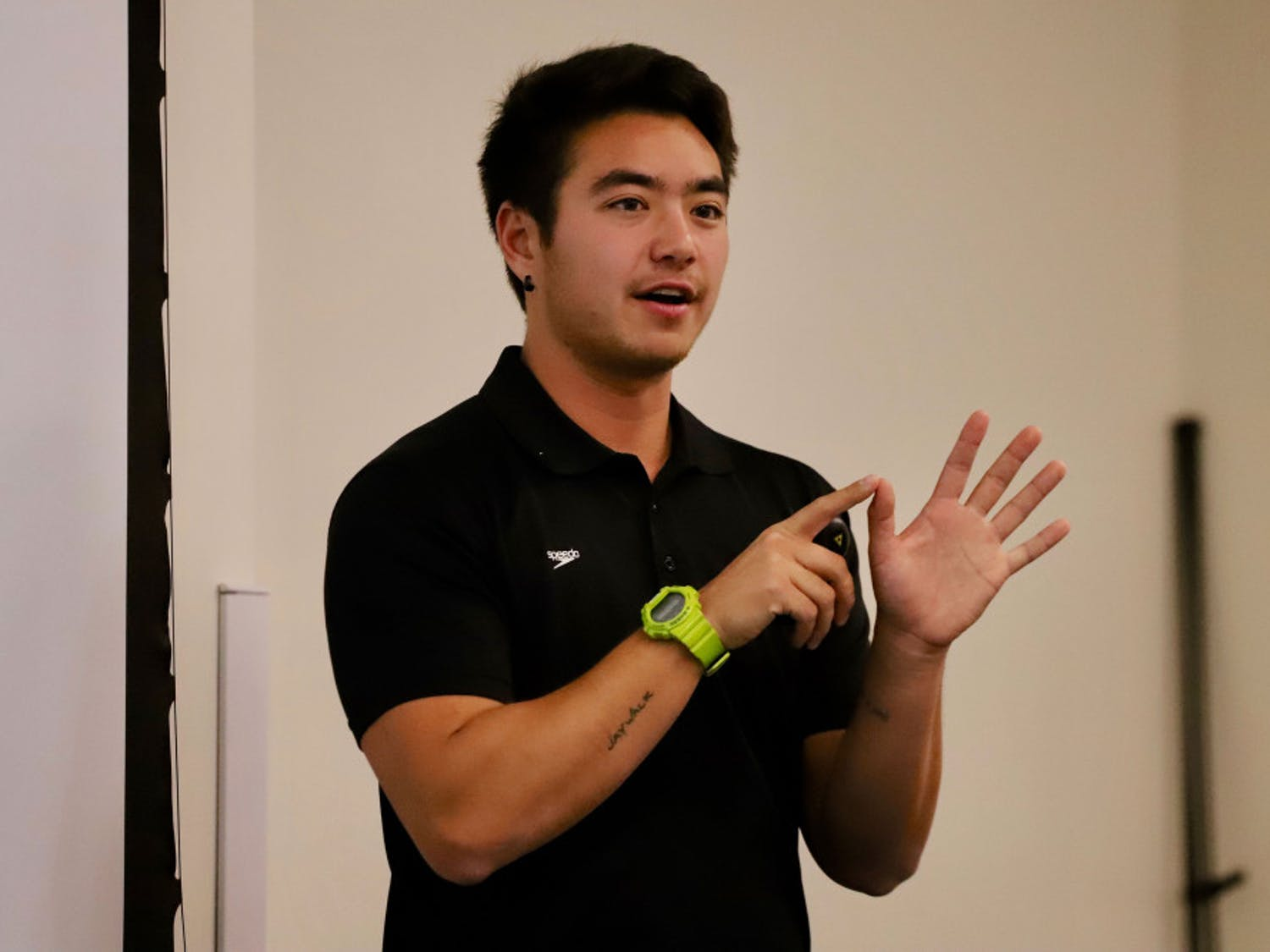 Schuyler Bailar, 23, the first Division 1 NCAA trans-athlete speaks about his life Friday to students. His speech marked the culmination of events put on by Pride Student Union celebrating National Coming Out Day.